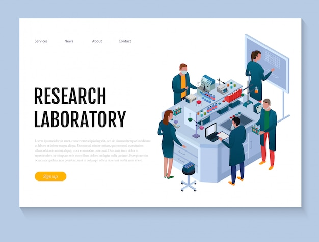 Laboratorio chimico scientifico con l'insegna isometrica di web dell'attrezzatura di ricerca e del personale su bianco Vettore gratuito