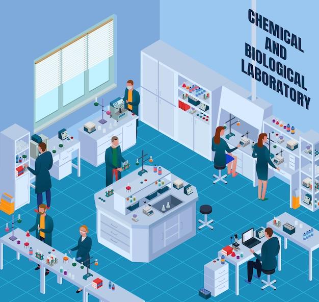 Laboratorio di chimica biologica con scienziati durante il lavoro di ricerca attrezzature ed elementi interni isometrici Vettore gratuito