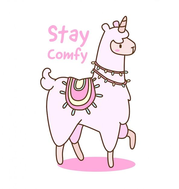 Lama di unicorno di kawaii con illustrazione di citazione Vettore Premium
