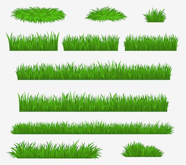 Lame di erba di campo verde, media e fattoria Vettore Premium