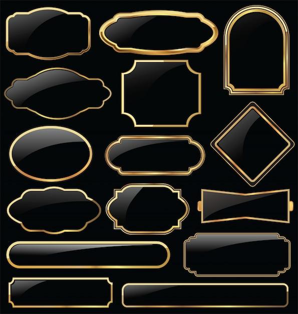 Lamiere in metallo di alta qualità collezione dorata Vettore Premium