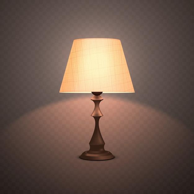 Lampada da notte luminosa realistica decorativa Vettore Premium