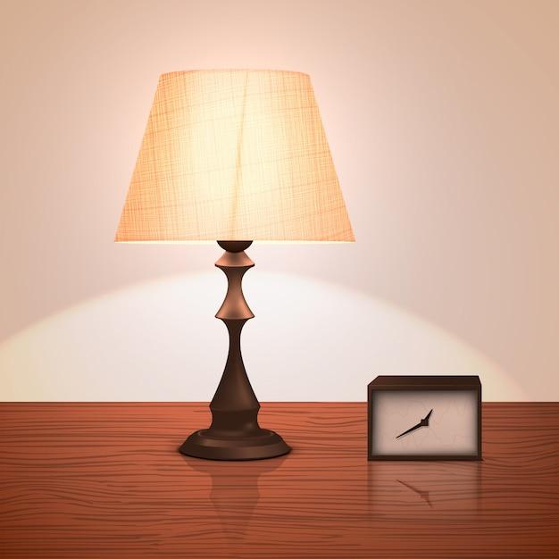 Lampada da notte realistica o lampada da terra in piedi su un tavolo o comodino con un orologio. Vettore Premium