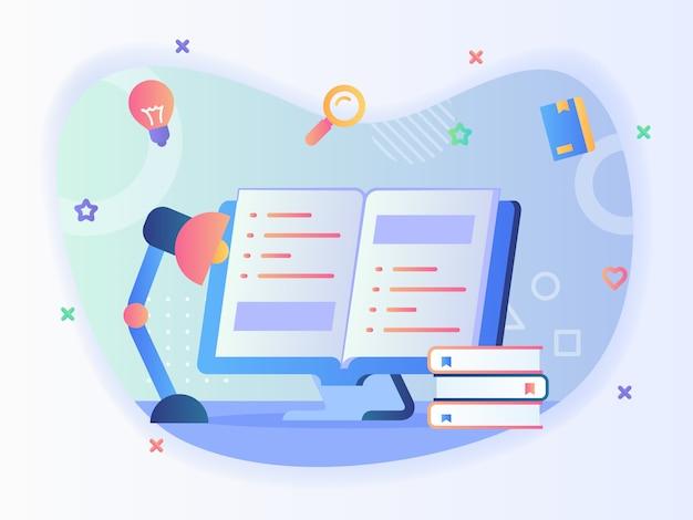 Lampada da studio nella parte anteriore del libro di testo aperto nel concetto di libro di lettura dello schermo del computer con disegno vettoriale in stile piatto. Vettore Premium