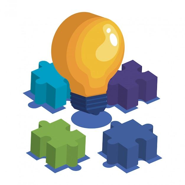 Lampadina con pezzi del gioco puzzle Vettore gratuito