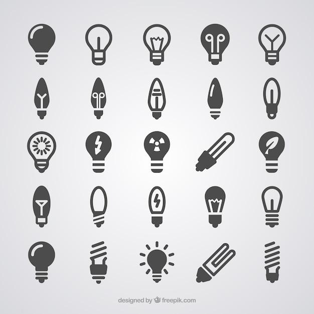 Lampadina icone di luce Vettore gratuito