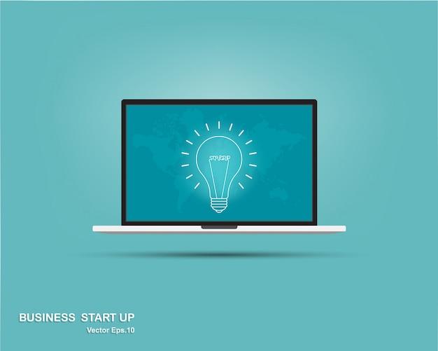 Lampadina nel computer portatile Vettore Premium