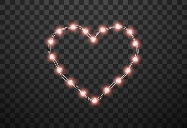 Lampadine a forma di cuore su ghirlande Vettore Premium