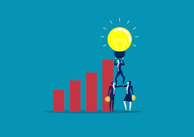 Lampadine di idea della tenuta del gruppo di affari sopra crescita del grafico commerciale. illustrazione creativa di vettore di idee di affari di concetto Vettore Premium