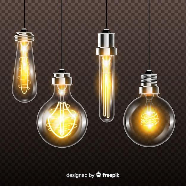 Lampadine realistiche su sfondo trasparente Vettore gratuito