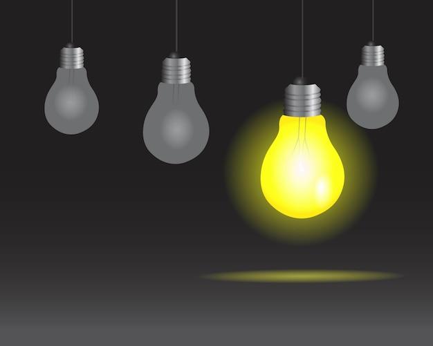 Lampadine realistiche sullo sfondo della lampada Vettore Premium
