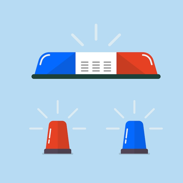 Lampeggiatore della polizia o set di lampeggiatori ambulanza Vettore Premium