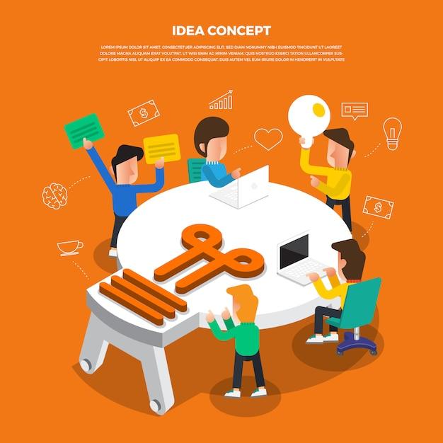 Lampo di genio piano di concetto di progetto che lavora alla lampadina da tavolino di idea dell'icona. Vettore Premium