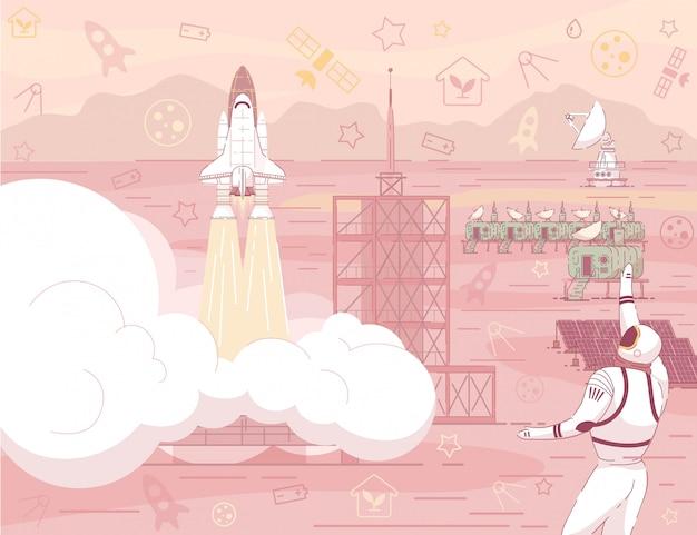 Lancio dell'astronave a red planet desert landscape Vettore Premium