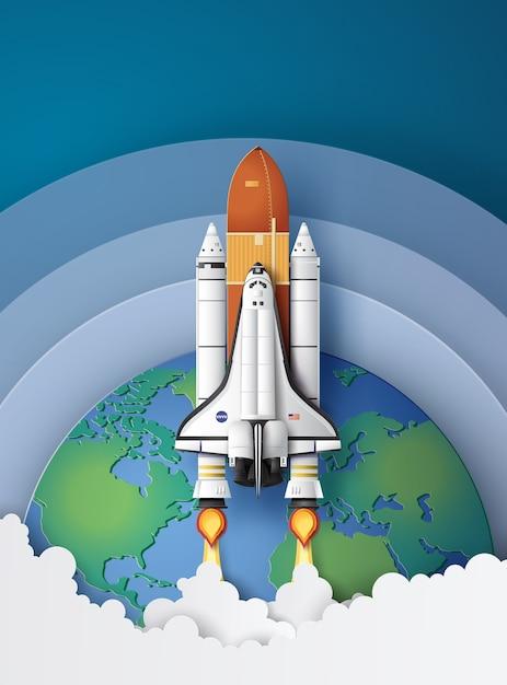 Lancio della navetta spaziale concetto di business verso il cielo Vettore Premium