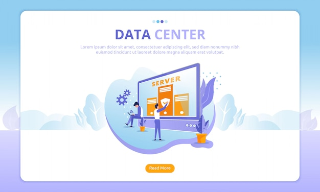 Landing page del data center Vettore Premium