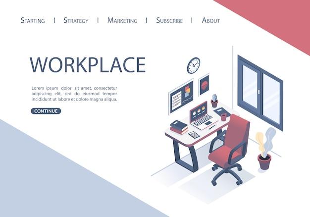 Landing page design del modello web con il concetto di posto di lavoro in ufficio. Vettore Premium