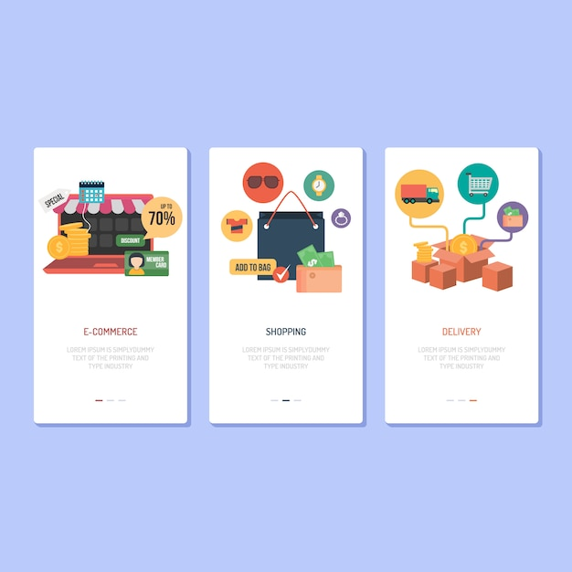 Landing page design: ecommerce, shopping e delivery Vettore Premium