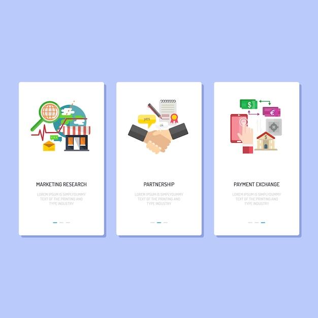 Landing page design | marketing, partnership e pagamento Vettore Premium