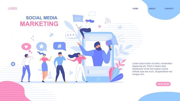 Landing page design per il social media marketing Vettore Premium