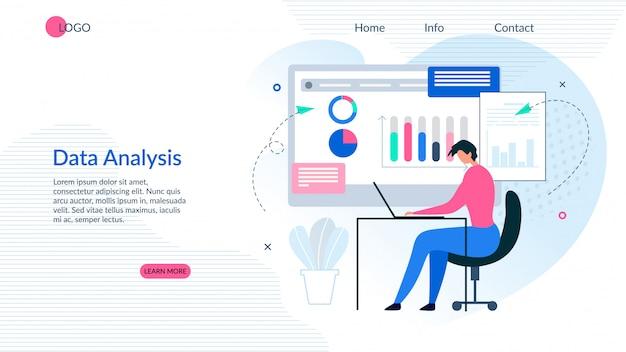 Landing page presenta un'app di analisi dei dati efficace Vettore Premium