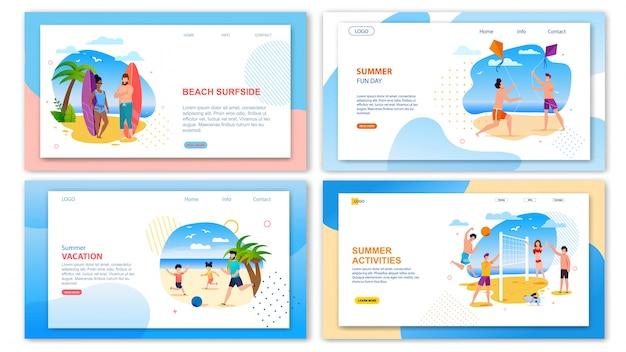 Landing page template pack proporre attività divertenti durante le vacanze estive Vettore Premium
