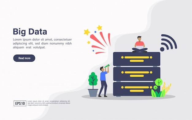 Landing page template web di big data Vettore Premium