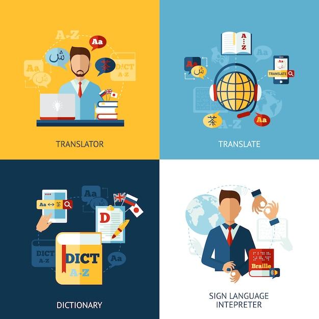 Language translator set Vettore gratuito