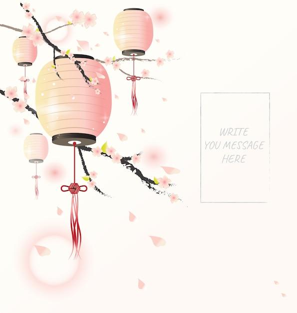 Lanterna cinese con albero di ciliegio Vettore Premium