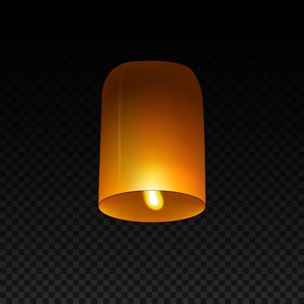 Lanterna del cielo isolata su trasparente. Vettore Premium