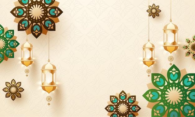 Lanterne d'attaccatura dorate e design a mandala decorati su arabi Vettore Premium