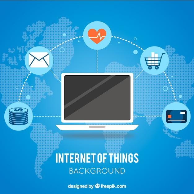 Laptop blu sfondo connesso a internet Vettore gratuito