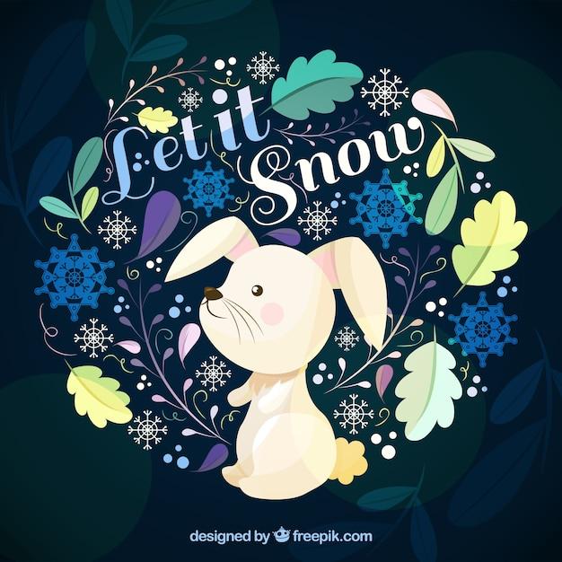 Lascia che nevichi sullo sfondo con un coniglio Vettore gratuito