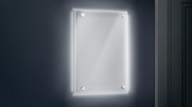 Lastra di vetro vuota in metacrilato imbullonata alla parete vicino alla porta Vettore gratuito