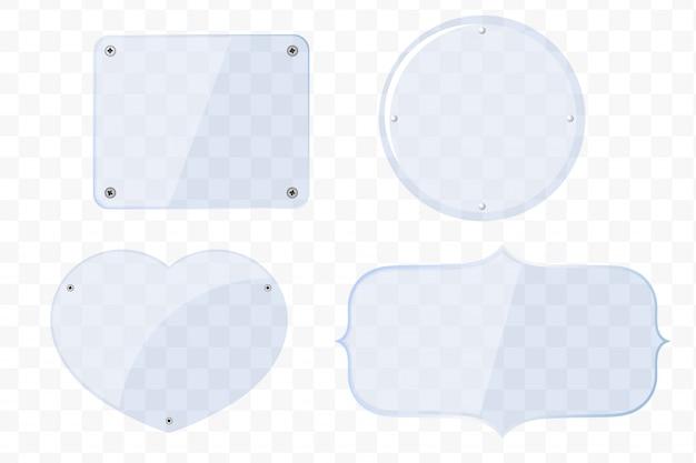 Lastre di vetro di diverse forme Vettore Premium