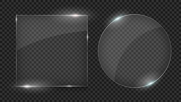 Lastre di vetro, set di forme diverse, cornici di vetro isolati su trasparente Vettore Premium