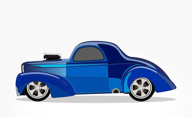 Lato dettagliato di un cartone animato piatto auto blu