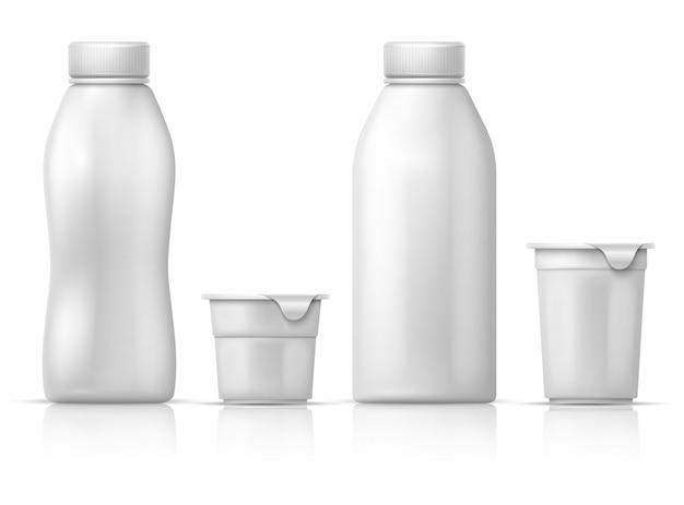 Latta, contenitore e bottiglie di plastica rotondi bianchi in bianco dello yogurt. mockup di imballaggio per prodotti lattiero-caseari. di contenitore di yogurt in plastica, confezione di latte prodotto Vettore Premium