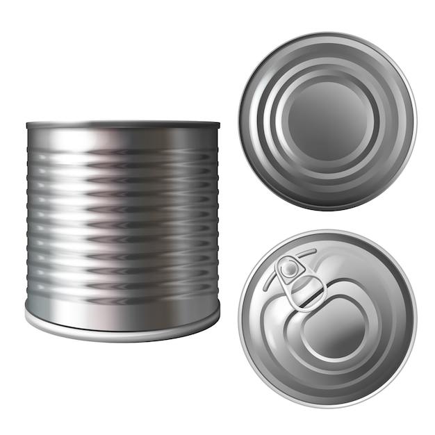 Latta del metallo o illustrazione di latta del contenitore realistico 3d per le conserve o le conserve di cibo. Vettore gratuito