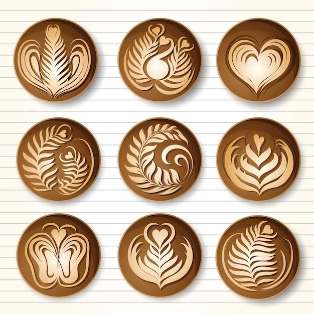 Latte art coffee Vettore Premium