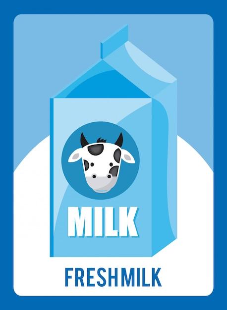 Latte design su sfondo blu Vettore Premium