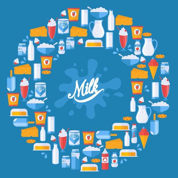 Latte e prodotti lattier-caseario freschi nella composizione rotonda nella struttura, illustrazione. Vettore Premium