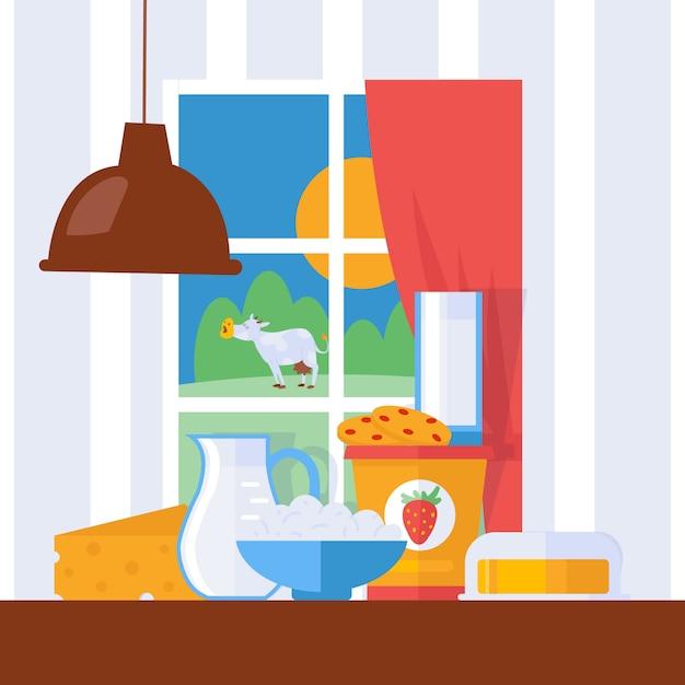 Latticini freschi, illustrazione. latte, formaggio e burro su un tavolo da cucina in agriturismo. Vettore Premium