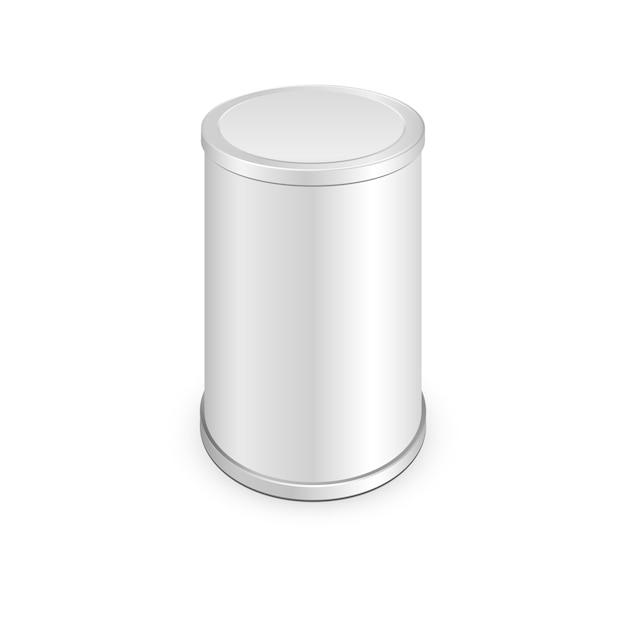 Lattina di metallo, cibo in scatola Vettore Premium