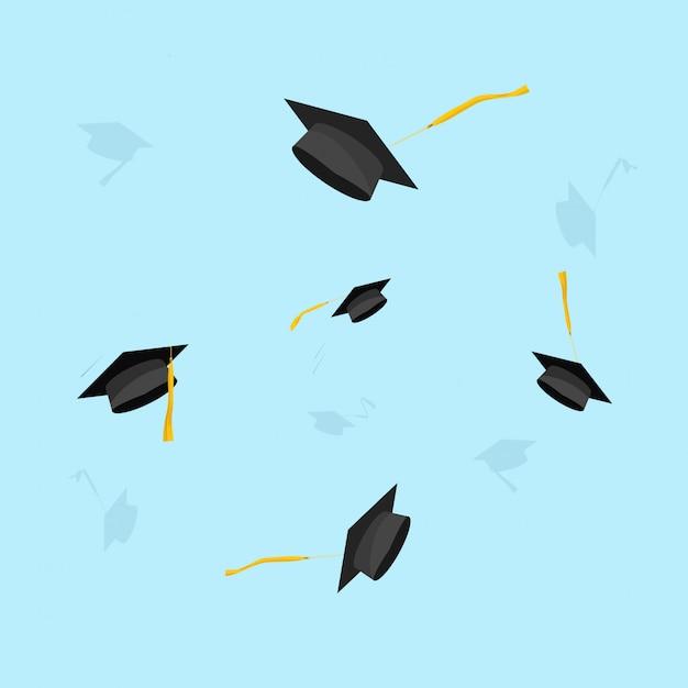 Laurea o cappelli accademici volanti nel fumetto piano dell'illustrazione di vettore dell'aria Vettore Premium