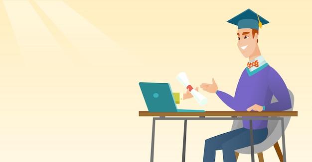 Laureato ottenendo il diploma dal computer. Vettore Premium