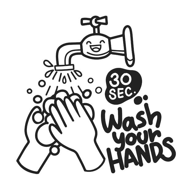 Lavaggio a mano con l'icona di sapone. lettering lavati le mani. illustrazione disegnata a mano di colore nero, isolata su fondo bianco. Vettore Premium