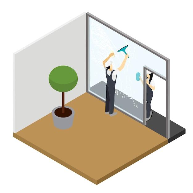 Lavaggio delle finestre composizione isometrica degli interni Vettore gratuito