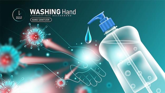 Lavaggio delle mani con disinfettante per le mani per proteggere da coronavirus 2019- ncov Vettore Premium