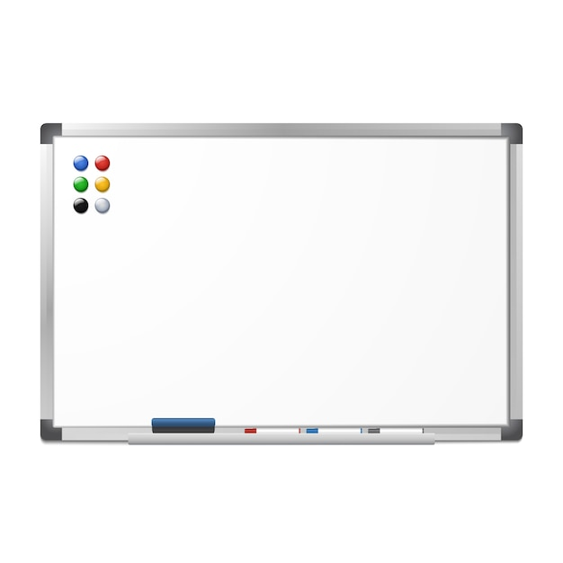 Lavagna a secco magnetica in bianco a secco con la gomma, 3 indicatori e 6 magneti isolati su bianco. telaio in alluminio argento. bordo trasparente. Vettore Premium